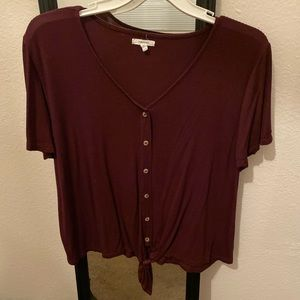 Cropped Tee with Tie Front